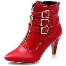 SHOWHOW Damen Martin Boots Kurzschaft Stiefel Mit Absatz Rot 38 EU k3shxu