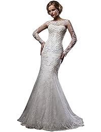 VIPbridal Lace sirena vestido de novia de manga larga barrido tren vestidos de novia