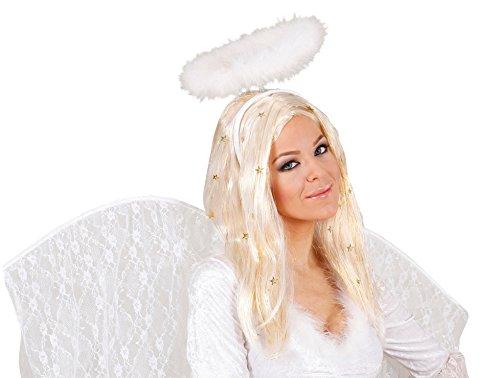 sperücke mit goldfarbenen Lametta Fäden (Angel Halloween-kostüm Ideen)