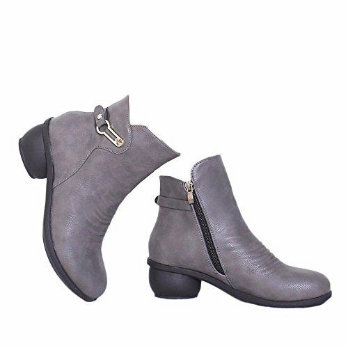 xiao123 Dance Shoes Women Short Boots Grey Plus Velvet Winter Square Fashion Simple Convenient Modern