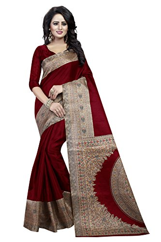 J B Fashion Women's Silk Saree With Blouse Piece(Maroon ,Free Size)