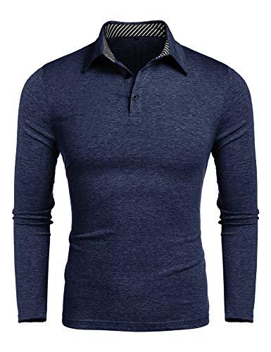 Herren Poloshirt Langarm Polohemd Polo Shirts mit Streifen Polokragen (Dunkelblau, X-Large)
