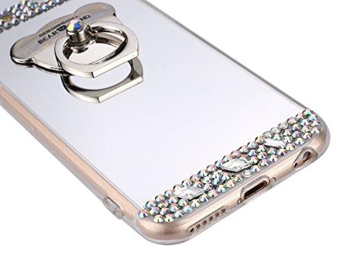 KunyFond Custoida Cover per iPhone 7/8 4.7,iPhone 7 Cover Trasparente Glitter,iPhone 8 Custodia Cristallo Chiaro Lusso Elegante Floreale Fiore Sparkle Glitter Bling Disegno Crystal Clear Soft Silicone argento Orso