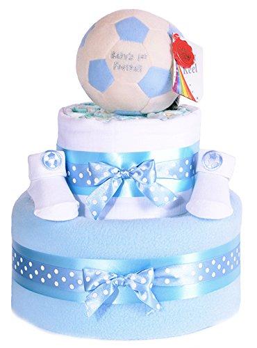 Mi primera pelota de fútbol Star de fútbol para pie azul niños–tarta de pañales bebé ducha cesta Set de regalo