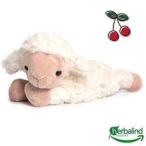 Herbalind Wärmekissen für Babys Schaf (Frieda) – Kirschkernkissen, Flauschiges wärmendes Stofftier 25×23 cm als Wärmflasche mit Körnerkissen