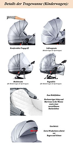 """16 teiliges Qualitäts-Kinderwagenset 3 in 1 Mikado """"COSMO"""": Kinderwagen + Buggy + Autokindersitz + Schwenkräder – Mega-Ausstattung – all inclusive Paket in Farbe (C-21) SCHWARZ-ROT STRIPES"""