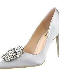 LvYuan-ggx Zapatos de mujer-Tac¨®n Stiletto-Tacones-Tacones-Casual-Vell¨®n-Negro / Rosa / Rojo / Plata / Gris / Oro , silver-us7.5 / eu38 / uk5.5 / cn38 , silver-us7.5 / eu38 / uk5.5 / cn38