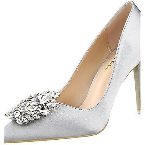 LvYuan-ggx Zapatos de mujer-Tac¨®n Stiletto-Tacones-Tacones-Casual-Vell¨®n-Negro / Rosa / Rojo / Plata / Gris / Oro , green-us7.5 / eu38 / uk5.5 / cn38 , green-us7.5 / eu38 / uk5.5 / cn38