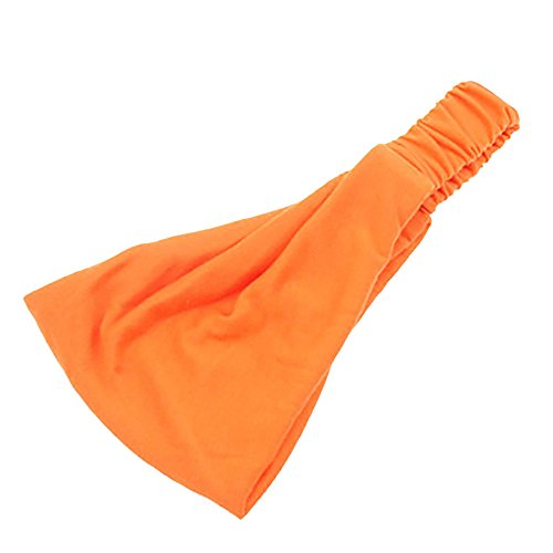 YWLINK Damen Twist Stirnband Elastisches Wickel-Turban-Haarband Breit Boho Waschen Yoga Sport Stirnband(Orange,)
