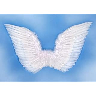 Party Deco SK3 – 008-karton – Angel Wings With Feathers, White, One Size