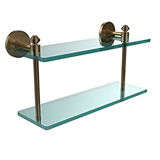 Allied Brass SB-2/16-BBR Southbeach Collection 16-Inch by 5-Inch Double Glass Shelf, Brushed Bronze by Allied Precision Industries