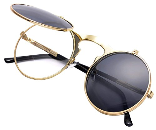 Red Peony Runde Steampunk Polarisierte Sonnenbrille Metall Rand Rahmen Flip up Linse für Herren Damen UV400 (A/Gold/Schwarz, Nicht polarisiert)
