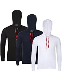 Feed Up Men's Hooded Cotton Tshirt Pack of 3