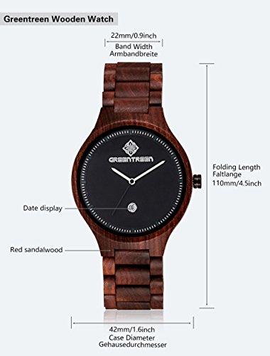 Greentreen Handgefertigte Herren Holzuhr aus massivem, rötlichen Sandelholz, Armbanduhr für Männer mit Quarzziffernblatt und Datumsanzeige - 2
