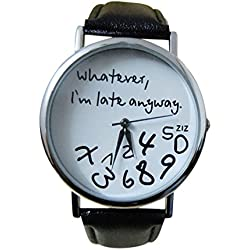 Tonsee Women Leather Watch Whatever I am Late Anyway Letter Watches Black