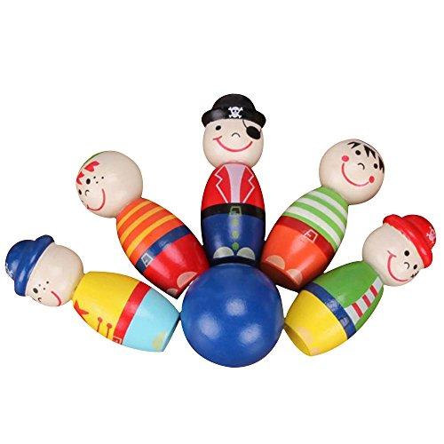 Anyutai Holz Bowlingkugel Spielzeug Kinder Puzzle Lernspiel Ball Set Cartoon