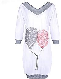 TOOGOO(R) Women's New Arrivals Fashion Long Sleeve Spring Autumn Casual Mini Shirt Dress Kawaii Balloon Print Tee Shirt Dress(White and Gray, S/US-4~6/UK-8~10)