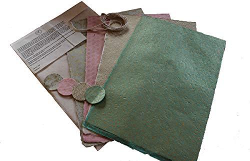 Maharanis Fairtrade Handgeschöpftes Papier Lokta Daphne Papier zum Verpacken, Basteln und mehr 4er Set Pastelltöne aus nachhaltiger Handwerksfertigung