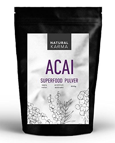 Acai Pulver 500g - hochdosiertes 4:1 Extrakt - reines Naturprodukt ohne Zusätze - Premium Superfood aus Acai Beerenpulver - perfekt für Smoothi & Frühstück
