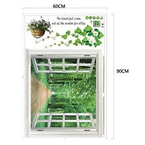 YHUJH HOME Abnehmbare Wandaufkleber 3D außerhalb Fenster grüne Pflanzenlandschaft (60 * 90 cm)