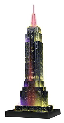 Ravensburger 12566 1 Empire State Building bei Nacht Night Edition 3D-Puzzle Bauwerke, 216 Teile