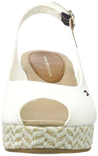 Tommy Hilfiger E1285lba 39d, Sandales Bout Ouvert Femme Blanc (Whisper White 016)