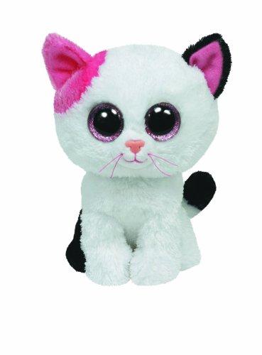 TY 36986 - Plüschtier Beanie Boos Glubschi, Muffin Buddy Katze, Large, weiß/pink