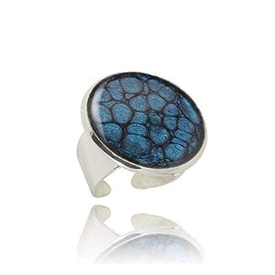 Gracieuses Grandes Bagues Fantaisie Grandes de couleur Bleu Marine; Cadeau Insolite Anniversaire pour Femme; Réglable, Design Diamètre 2.5cm