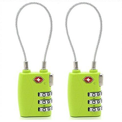 Donjon TSA Travel Gepäck Schlösser, 3-stellige Kombination Sicherheit Kabel Vorhängeschloss (green) -