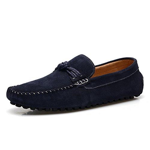 XiaoYouYu  Leather Shoes, Basses homme Bleu - noir foncé