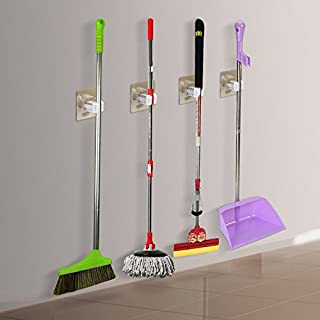 Broom Mop Holder, Broom Gripper Holds Strongly Non-slip, Home Organization Storage Solutions for Cleaning Tools Holder (4 Pack)
