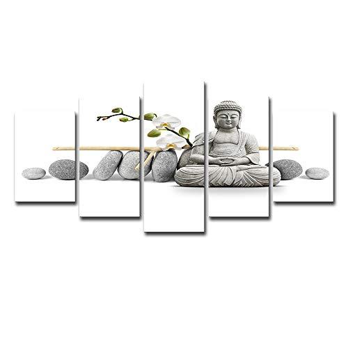 Unbekannt Moderne Leinwand Malerei Buddhistische Wand Kunst-5 Stück Kombination Buddha Statue Orchidee Poster HD Leisure Hintergrund Wand-Wohnzimmer Restaurant Büro,S