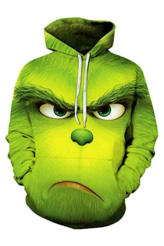 Herren Coat Wie der Grinch gestohlen hat Christmas Weihnachten How the Grinch Stole Christmas Kapuzenpullover Mantel Hoodie mit Kapuze Kapuzenjacke Hooded Pulli Sweatshirt Lange Ärmel Unisex Grün L