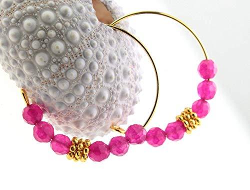 Edelstein-Creolen Ohrringe Achat-Perlen pink Farbe: Gold