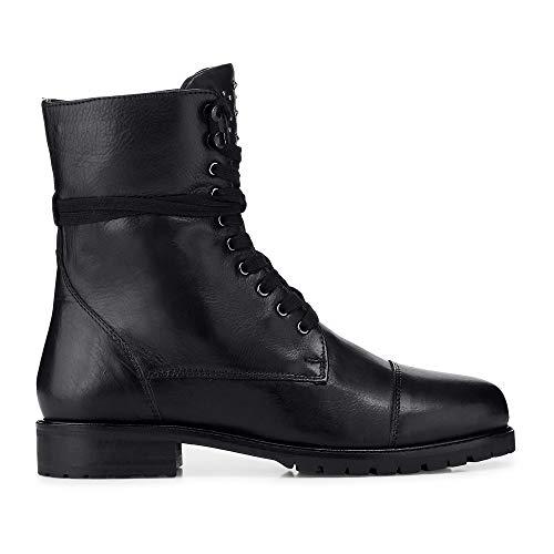 Cox Damen Damen Schnür-Boots aus Leder, Freizeit-Stiefel in Schwarz mit kuscheligem Innen-Futter schwarz Glattleder 39