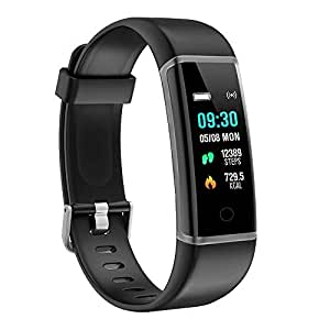 moreFit Slim Fitness Tracker with Touch Screen Best Fitness Wrist Band Pedometer Smartband Sleep Monitor Watch for Christmas Xmas Gifts, Gray-Black