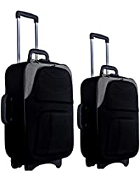 "New Jersey Travellers {Polyester SOFTSIDED Suitcase} Scottish Design (24""Inches +20'' Inches Bag) (Black & Grey)"