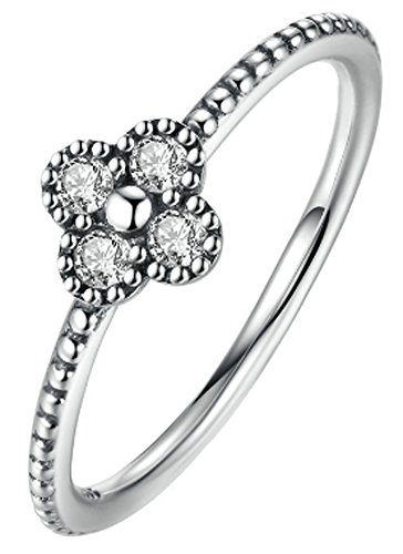 SaySure- 925 Sterling Silver Clear CZ Simple Finger Ring (SIZE : 6)
