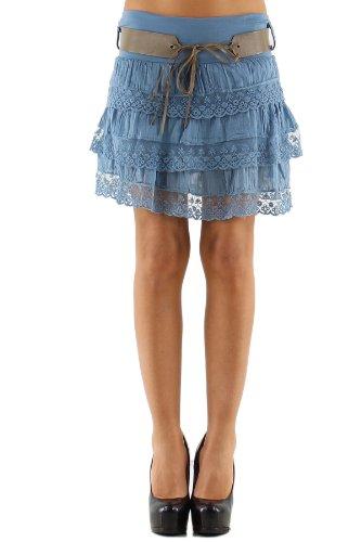 jowiha Volant Minirock mit Spitze und Gürtel Größe S-L (Jeans Blau) - A-linie Mini
