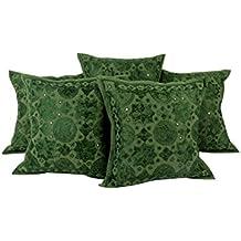 India Pitachio verde 16x16 Cojín tradicional cover set de 5 floral fundas de almohada de algodón banda Decoración bordada Almohada Por Rajrang