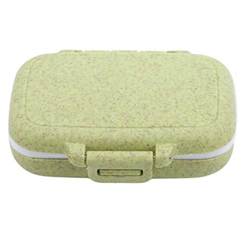 Stroh Pillendose (KYMLL Grün Weizen Stroh Pille Organizer Box Tragbare Medizin Mini Lagerung Pillenhalter für Reise)
