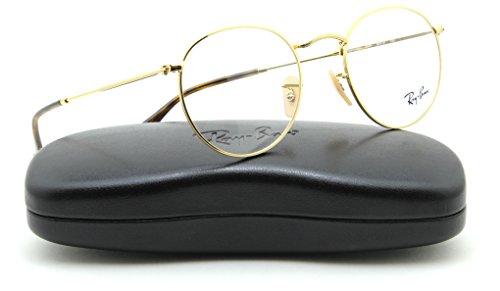 Ray-Ban RX3447V Round Metal Unisex Eyeglasses Gold Frame 2500, 47mm