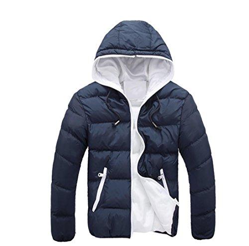Chaquetas de hombre, Manadlian Hombres Abrigo grueso invierno con capucha Delgado Casual Una chaqueta abrigada Anorak Sobretodo con capucha (XL, Armada)