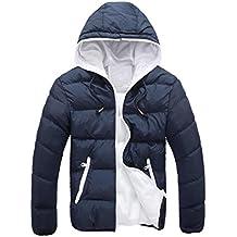 Chaquetas de hombre, Manadlian Hombres Abrigo grueso invierno con capucha Delgado Casual Una chaqueta abrigada Anorak Sobretodo con capucha (M, Armada)