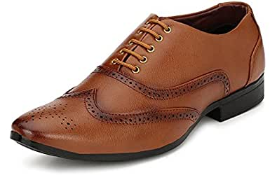 Fucasso Men's Synthetic Tan Formal Brogue Shoes - 10 UK