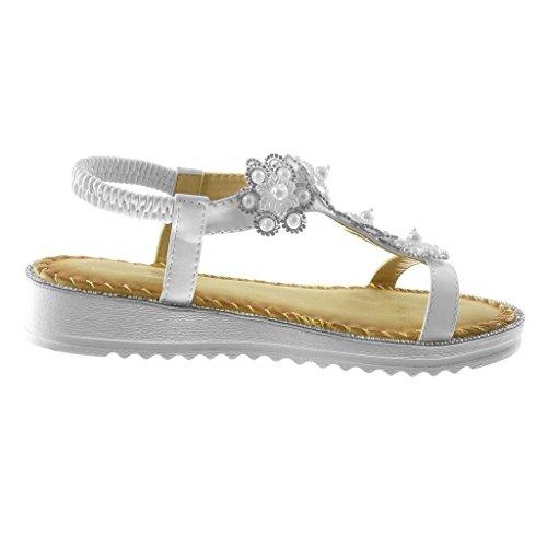 Angkorly Chaussure Mode Sandale Salomés Lanière Cheville Slip-On Femme Strass Diamant Fleurs Fantaisie Talon Compensé 3 cm Blanc