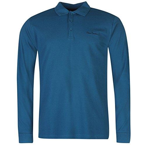 Pierre Cardin Uomo Polo T Shirt Semplice Manica Lunga Casual Colletto Maglietta Teal Small