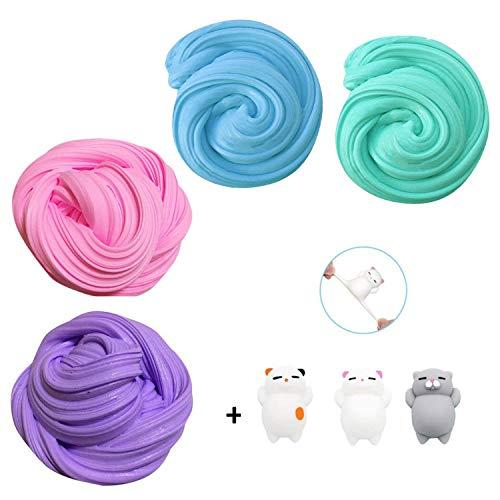 TIME4DEALS 7 Stück Stressabbau Spielzeug(4 Stück DIY Fluffy Slime und 3 Stück Tier Squishies) Schlamm Spielzeug Ungiftig Sensorische Spielzeug Tolles Mitbringsel für Kinder Erwachsene -