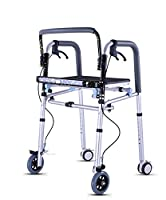 MYT Walking Frame Height Adjustable Aluminum Alloy Elderly People With Sitting Board Brake Pulley Disabilities Four Feet Walker Rehabilitation Equipment