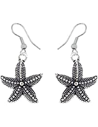 SKN German 92.5 Sterling Silver Oxidised Star Fish Fashion Earring For Women & Girls (SKN-4203)